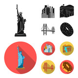 A megacity, a grand canyon, a golden gate bridge,donut with chocolate. The US country set collection icons in black, flat style vector symbol stock illustration web.
