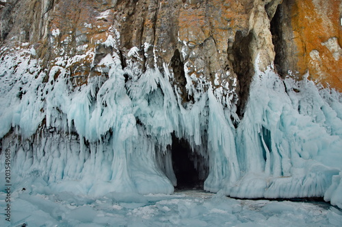 Russia. Eastern Siberia. The unique beauty of transparent ice of lake Baikal.