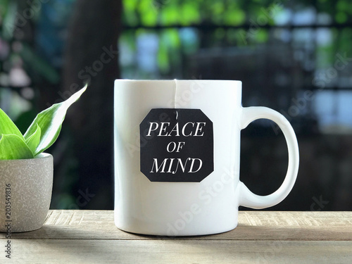 Motivational And Inspirational Quote Peace Of Mind Written On A
