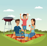 Family picnic at park cartoons vector illustration graphic design