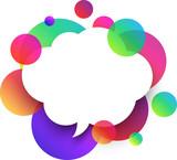 White speech cloud background with colour bubbles.