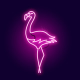Glowing Pink Neon Flamingo Sign