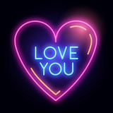 Neon Glowing Love Heart Light Sign