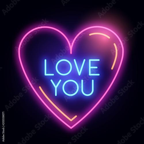 Neon świecące miłość serca znak światła