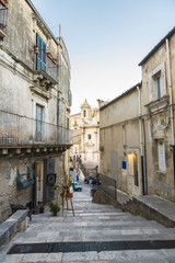 Street of the old town in Ragusa, Sicily, Italy