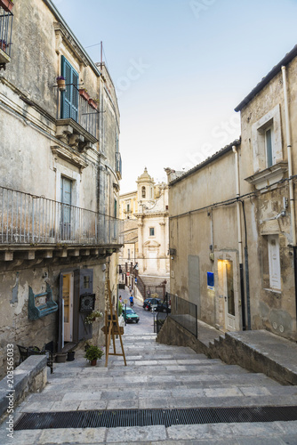 Fototapeta Street of the old town in Ragusa, Sicily, Italy
