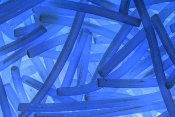 image abstract blue background of curved short sticks