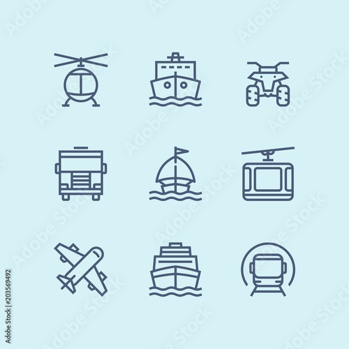 Sticker Outline Transport, vehicle, truck and car simple vector icons for web and mobile design pack 3