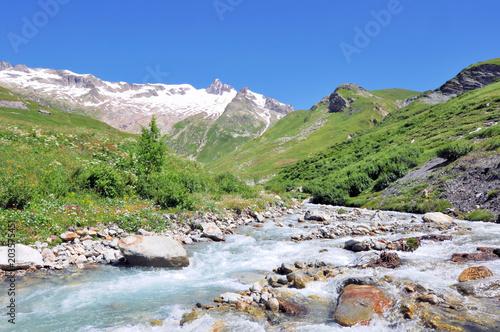 Aluminium Bergrivier beautiful snowy mountain and stream in summer