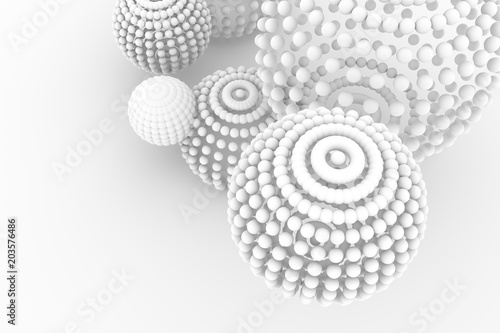 Fototapeta Spheres, modern style soft white & gray background. Artistic, illustration, generative & smooth.