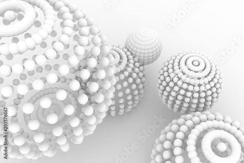 Spheres, modern style soft white & gray background. Wallpaper, blur, generative & illustration. - 203576667