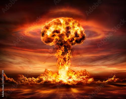 Leinwandbild Motiv Nuclear Bomb Explosion -  Mushroom Cloud
