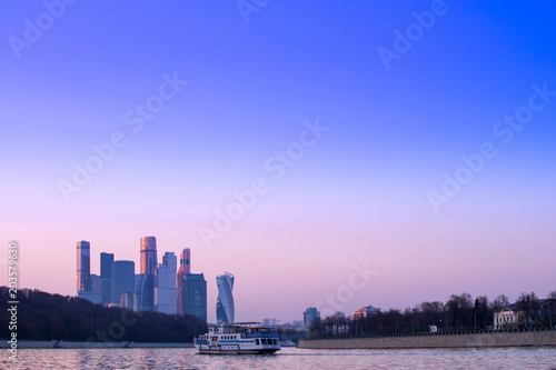 Plexiglas Moskou cityscape of modrn and urban skyscrapers Moscow International Business Center is Architecture and landmark of Moscow City with sweet sunset sky, Russia