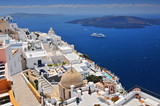 Afternoon view over town and ocean at Fira Thira Santorini Island Greece. - 203580873