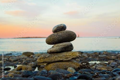 Canvas Zen Stenen Stacked Rocks Representing Zen