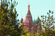 St. Basil`s Cathedral in Moscow, Russia. View through the trees.