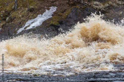 Aluminium Bergrivier Stormy mountain river with large waves