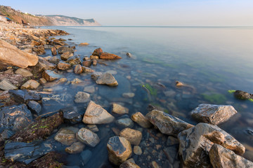 View at sunset on a bald mountain near the village of Supseh, Anapa, Russia © madhourse