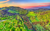 Aerial view of the Northen Vosges Mountains at sunset, France