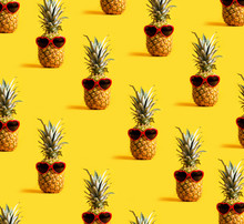 Series Of Pineapples Wearing Sunglasses On A Yellow  Sticker