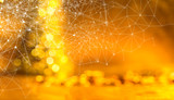 Network and connection technology concept with abstract blurred shiny glowing golden bokeh background