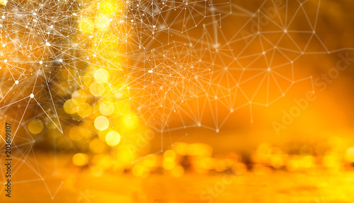 Poster Network and connection technology concept with abstract blurred shiny glowing golden bokeh background