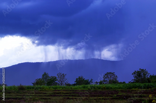 Plexiglas Donkerblauw landscape, sky, mountain, nature, clouds, cloud, view, hill, forest, mountains, fog, summer, green, blue, cloudy, mist, tree, panorama, weather, sunrise, storm, travel, dark, morning, grass