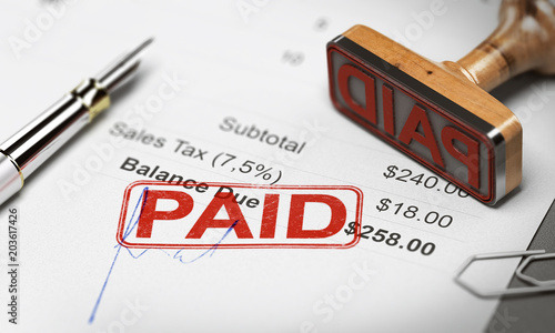 Paid Invoice, Debt or Invoice Collection Concept