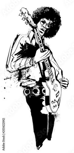 Foto Spatwand Art Studio Guitar player in black and white