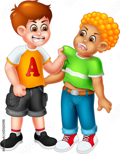 cute boy cartoon standing with fighting