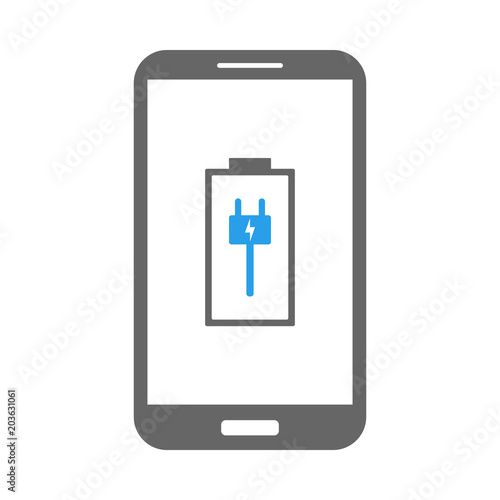 Smartphone Battery Charging Plug Symbol On Screen Vector Icon