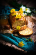 dandelion petal and honey  bread..selective focus