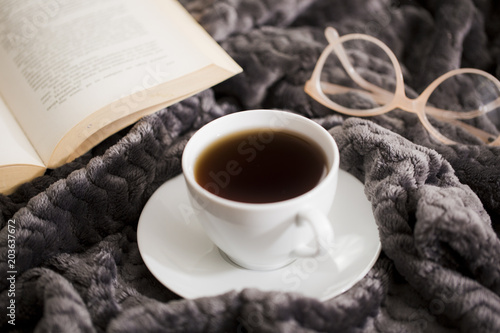 Fototapeta Coffee on cloth with book