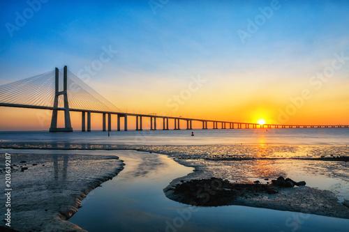 View on Vasco da Gama bridge, Lisbon, Portugal at sunrise