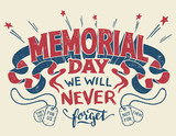 Memorial Day. We will never forget. Hand lettering greeting card with textured handcrafted letters with military dog tags. Hand-drawn vintage typography illustration