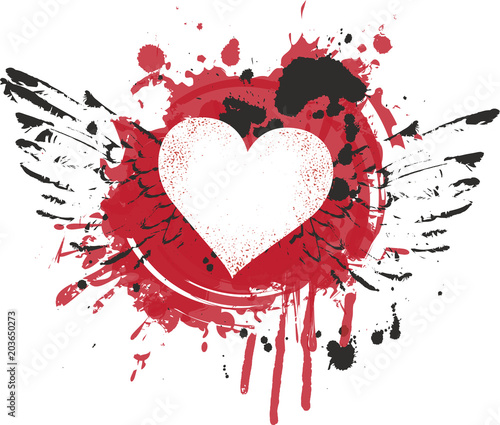 Vector graphic abstract illustration of heart with wings with red ink blots, drops. Heart and wings with bloody spots and splashes on white background. Flying heart. T-shirt design template
