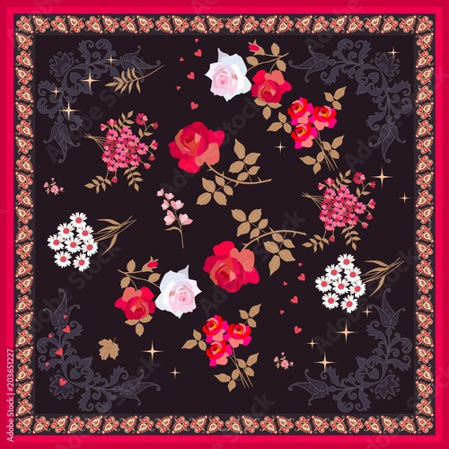 Silk scarf with bright floral ornament and beautiful paisley frame. Vector illustration. Ethnic design. - 203651227