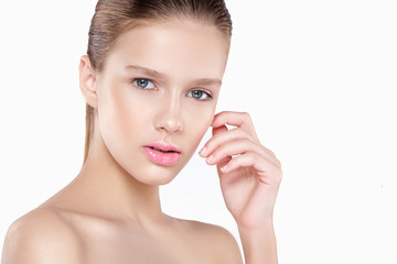beauty of a woman's face. Natural makeup, pink lips, clean skin. Isolated white background. © tatyaby