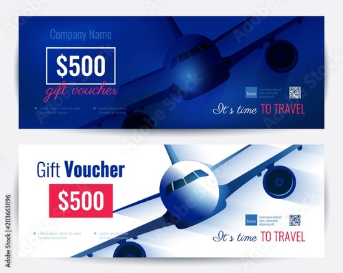 Set Of Gift Travel Voucher Template Gift Certificate For A Holiday