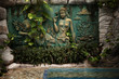 bali style decorated wall in tropic summer environment