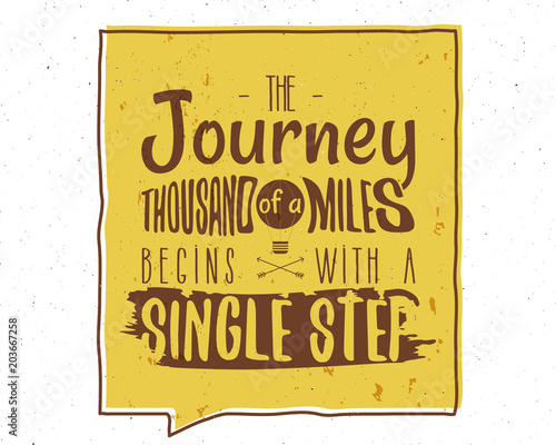 Canvas Vintage Poster The Journey of a Thousand Miles Inspiring Creative Motivation Quote. Typography Banner Design Concept. Vintage hand drawn inspiration poster. Stock isolated on white background