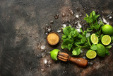Ingredients for making summer lemonade mojito.Top view with copy space. - 203668836