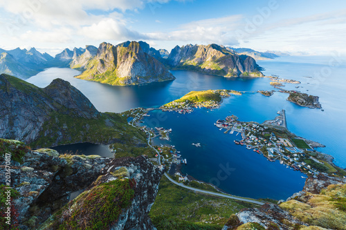 Canvas Natuur View of Reine in Lofoten, Norway