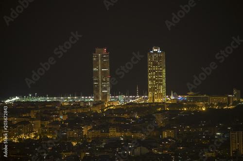 Plexiglas Barcelona barcelona city skyline at night