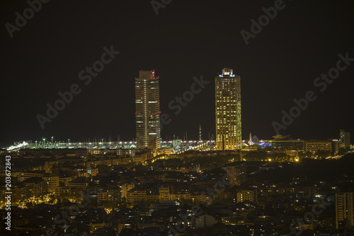 barcelona city skyline at night Poster