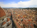 City panorama, aerial view, Florence, Tuscany, Italy; roofs, buildings, dome and towers.