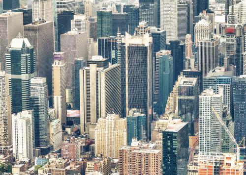 Plexiglas New York New York City, USA. Amazing aerial Manhattan view at sunset