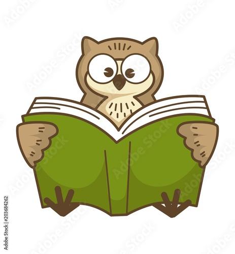 Fotobehang Uilen cartoon Wise owl with big round eyes reads book