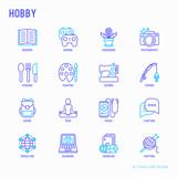 Hobby thin line icons set: reading, gaming, gardening, photography, cooking, sewing, fishing, hiking, yoga, music, travelling, blogging, knitting. Modern vector illustration. - 203684684