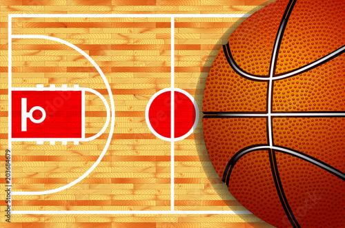 Basketball court and ball